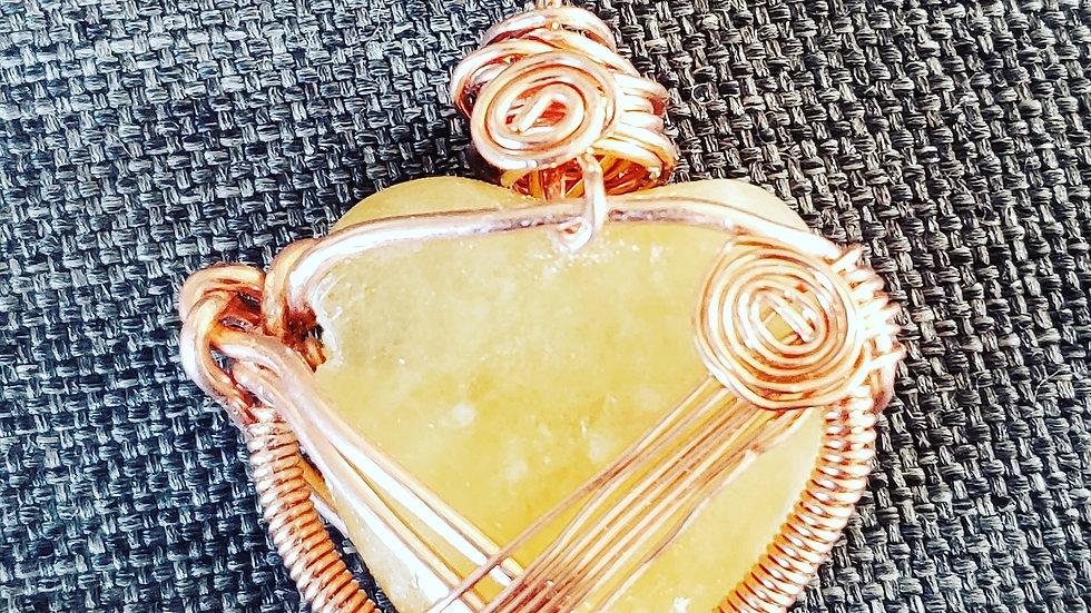 Citrine Heart Copper Pendant