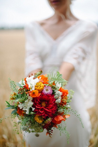 Colourful rustic wedding at Lains Barn, Oxfordshire.