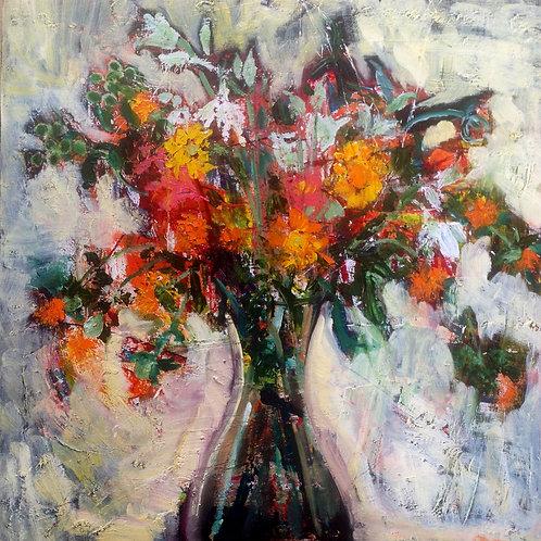 Vase with Orange Safflowers