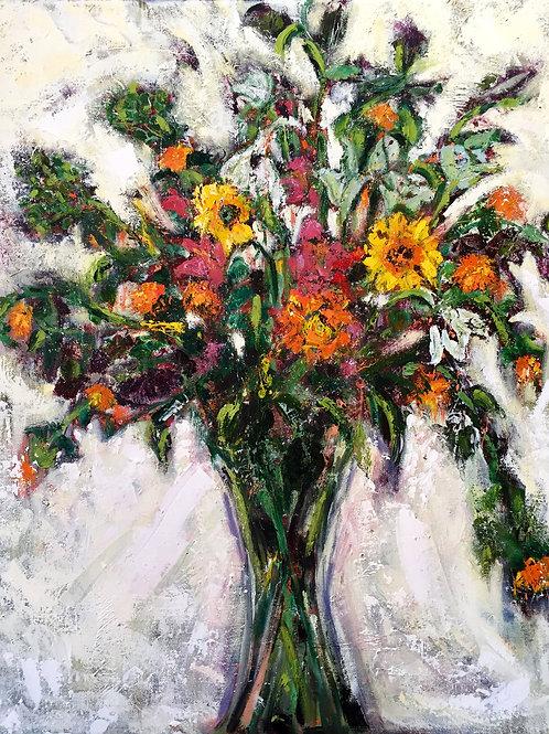 Vase with Orange Safflowers II