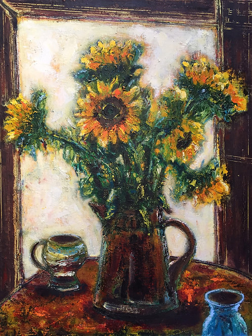 Brown Jug with Sunflowers