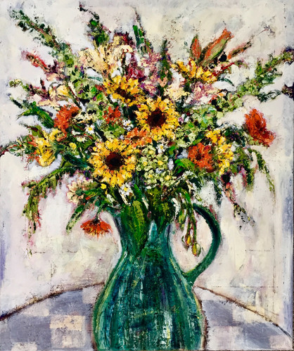 Green Jug with Sunflowers