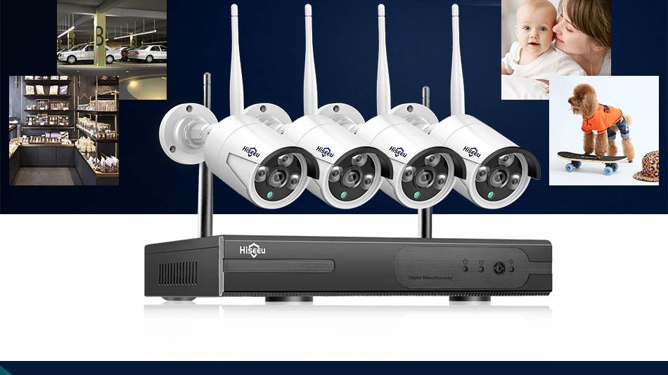Hiseeu 8CH Wireless CCTV System 1080P 1TB 4pcs 2MP NVR wifi IR-CUT Outdoor CCTV