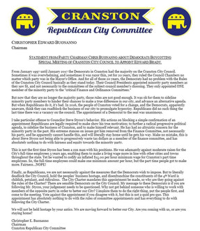 Statement from Party Chairman Chris Buonanno about Democrats Boycotting Special Meeting