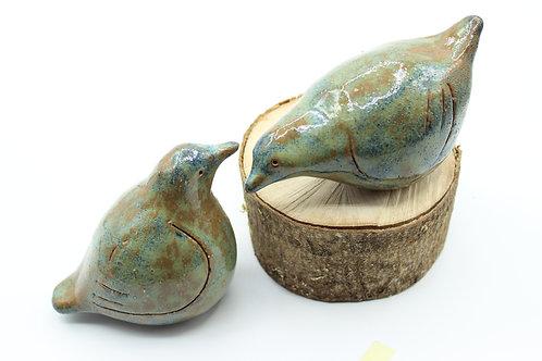Love Birds Mottled Turquoise- Ceramic
