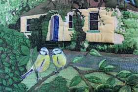 Birds in the garden detail