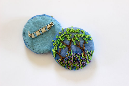 Textile Brooch, Bluebell Woods