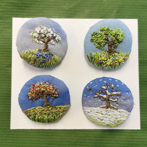 Four Seasons Textile Brooches