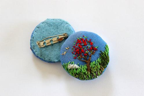 Textile Brooch, Mountain Ash