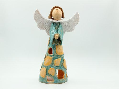 Beith/Birch (Turquoise,Yellow) Angel - Ceramic
