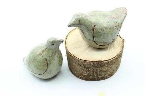 Love Birds Speckled Blue- Ceramic