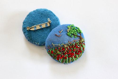 Textile Brooch, Poppy Field