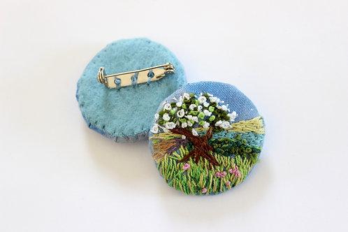 Textile Brooch,Hawthorn Tree