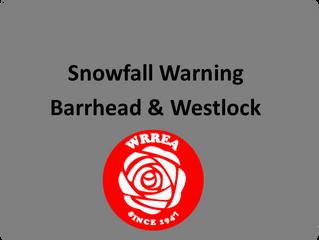 Snowfall Warning- Westlock and Barrhead Area