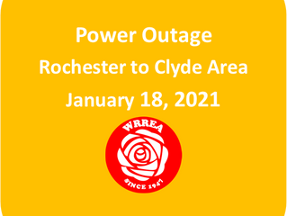 Power Outage RESTORED Between Rochester and Clyde: January 18, 2021