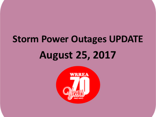 Storm Power Outages UPDATE- August 25, 2017