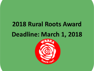 2018 Rural Roots Award- Application Deadline March 1, 2018