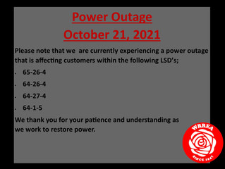 Power Outage- October 21, 2021
