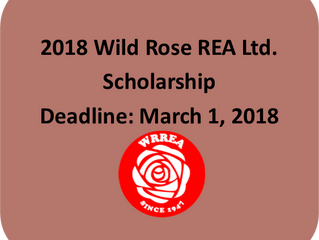 2018 Wild Rose REA Ltd. Scholarship- Application Deadline: March 1, 2018
