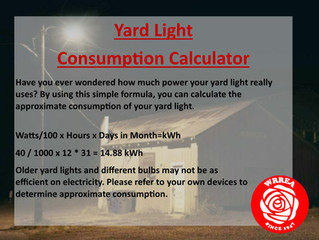 Yard Light Consumption Calculator