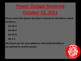 Power Outage RESTORED- October 21, 2021