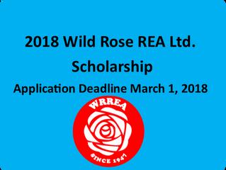 2018 Wild Rose REA Ltd. Scholarship- Application Deadline: March 1, 2018