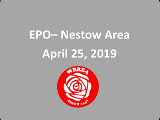 EPO: April 25, 2019 Nestow Area