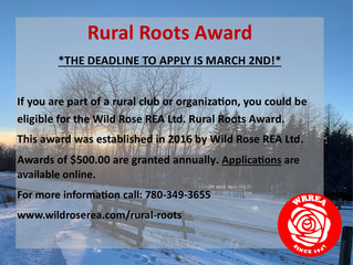 Rural Roots Award- Deadline to Apply is March 2, 2021