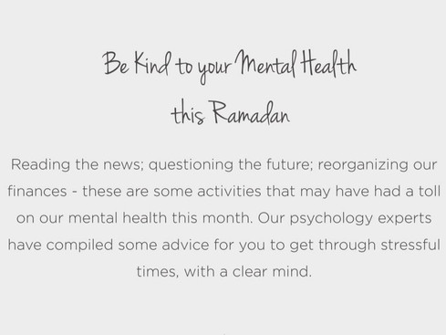 Be kind to your mental health this Ramadan