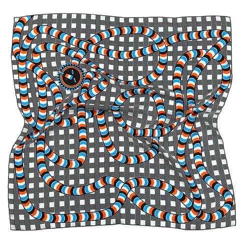 Orange &  Blue Snake Bandana