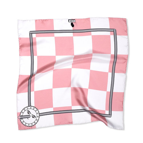 Pink Checkered Rosette Pocket Square