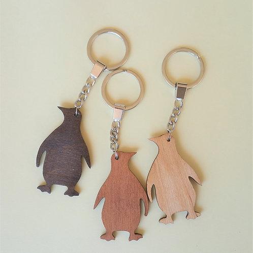 ¡Llavero de madera pingüino, llavero animales, animales de madera