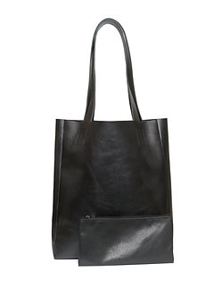 Сумка-шоппер Trapani из натуральной черной кожи