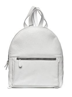 Рюкзак OFta круглый белый из натуральной кожи