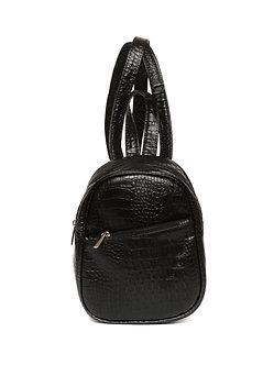 Рюкзак Mini черная рептилия из искусственной кожи