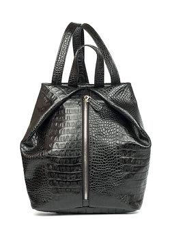 Рюкзак OFTA из натуральной черной кожи фактурой под кайман