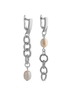 Серьги Silver Pearls с натуральный жемчугом