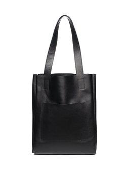 Сумка-Шоппер черная из натуральной кожи с карманом