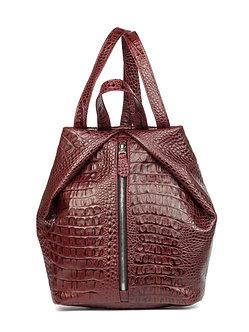 Рюкзак OFTA из натуральной бордовой кожи фактурой под кайман