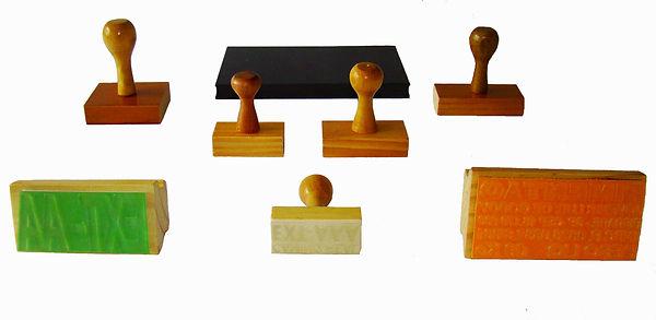 carimbos base de madeira