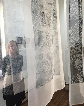 Amanda Donohue woodcut print on fabric