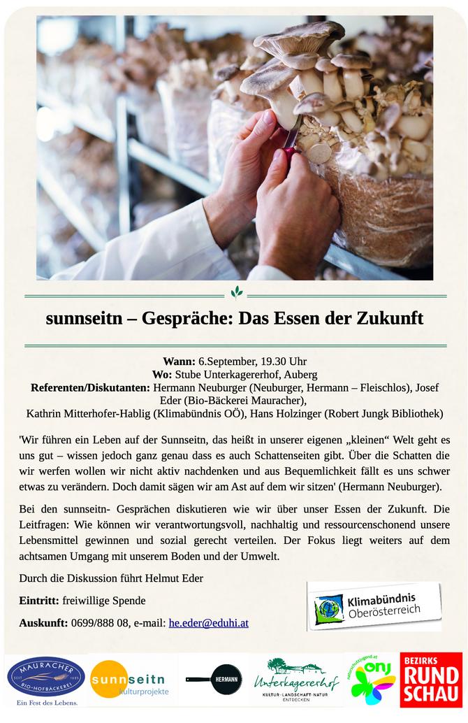 sunnseitn Gespräche 2019, Freitag 6. September ab 19:30 am Unterkagererhof