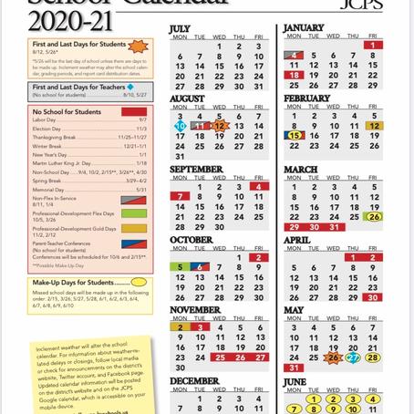 JCPS School Calendar 2020-2021