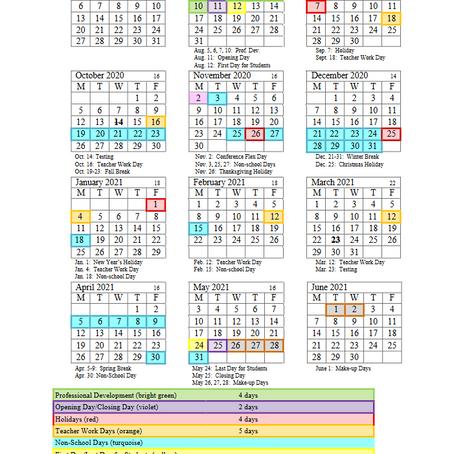 Oldham County Education Calendar 2020-2021