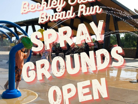Spraygrounds Turned on at Beckley Creek and Broad Run Parks