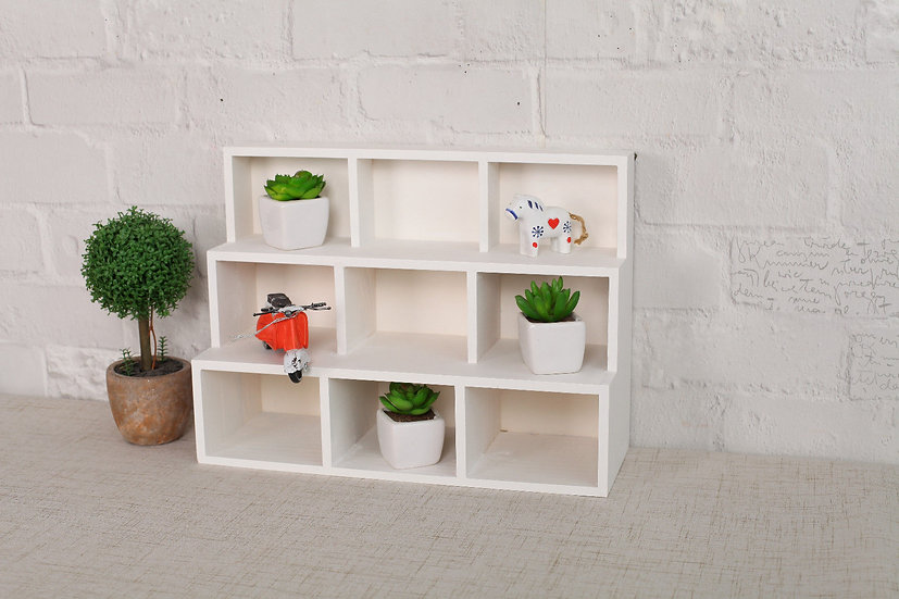 White Wooden Shelf Display Cabinet - 9 Compartments