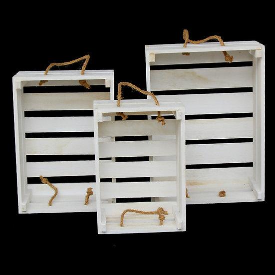 White Wooden Decorative Nesting Crates - 3 Sizes