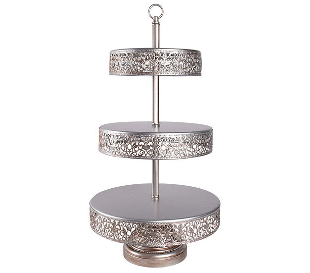 Three Tier Silver Victorian Lace Edge Cake stand - 56 cm Height