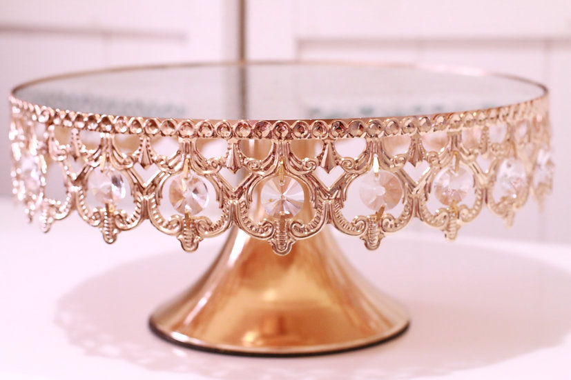 Gold Mirrored Cake Stand with Crystals - 30 cm