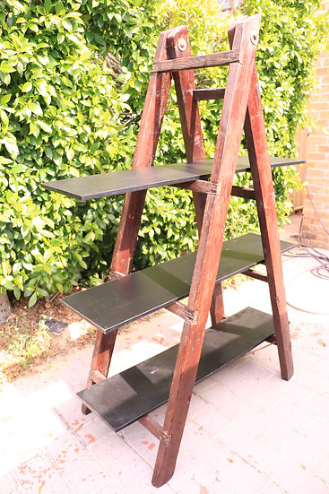 Vintage Brown Wooden Ladder with 3 Shelves